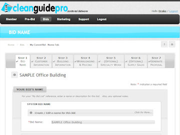 CleanGuidePro Online Janitorial Bidding - Pricing Section